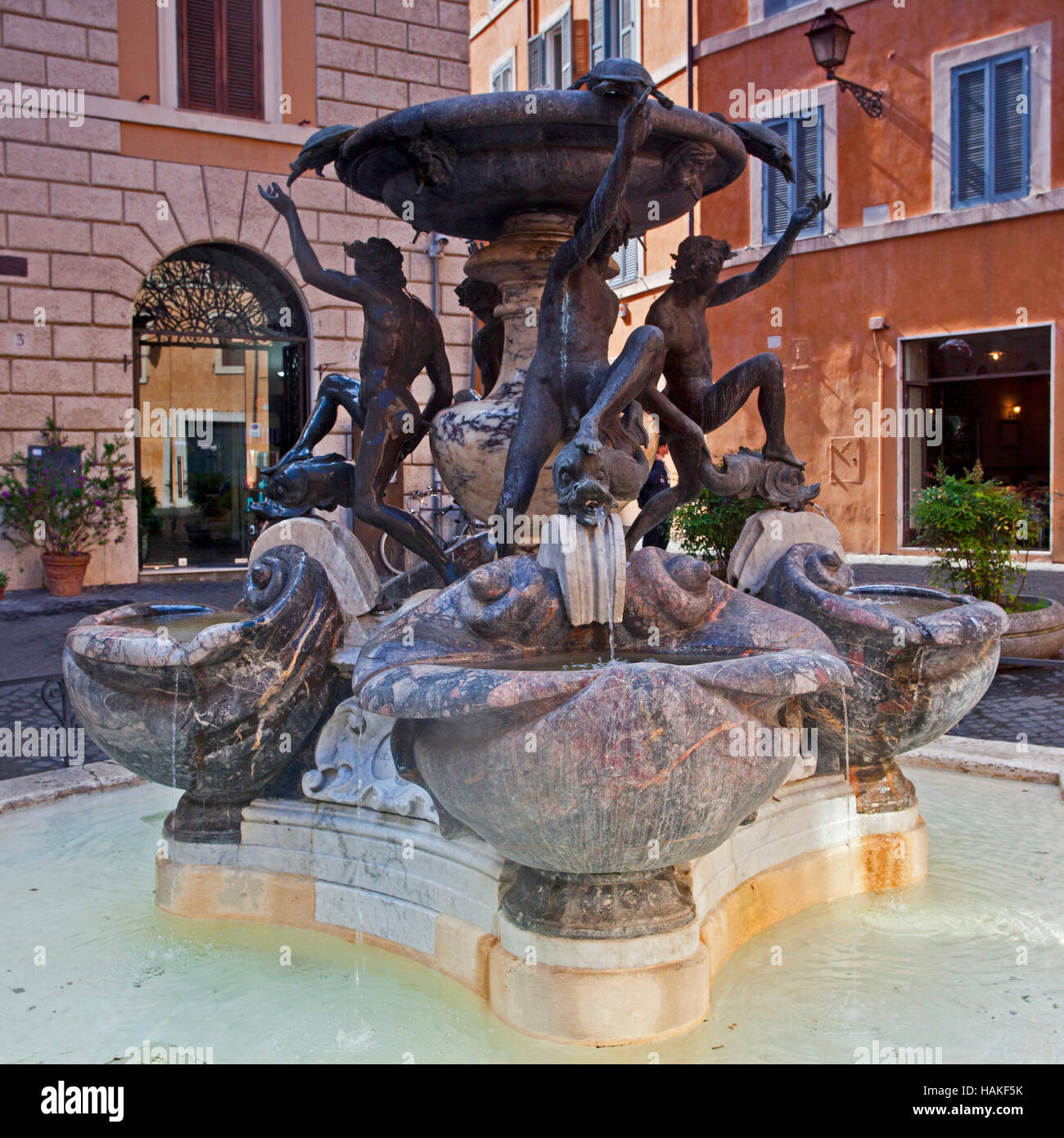 Ephebes statues at the Fontane delle Tartarughe, The Turtle Fountain, Piazza Mattei , the Jewish quarter, Rome, Stock Photo