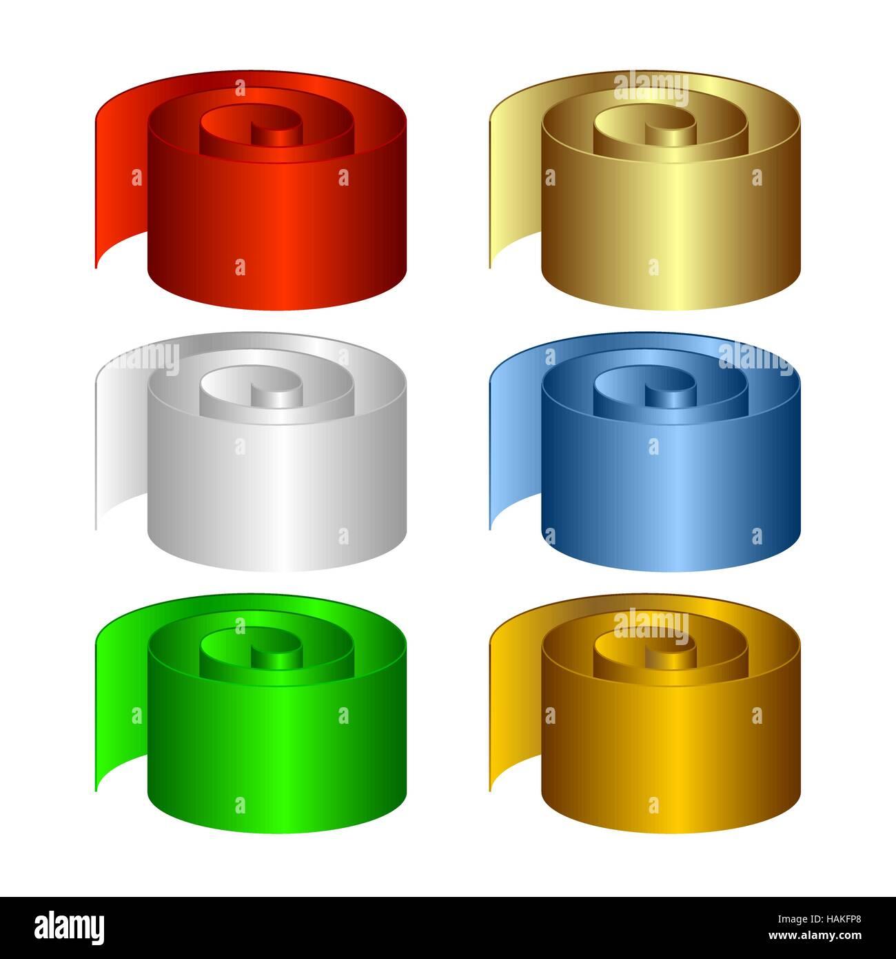 Set of multicolored rolls. - Stock Vector