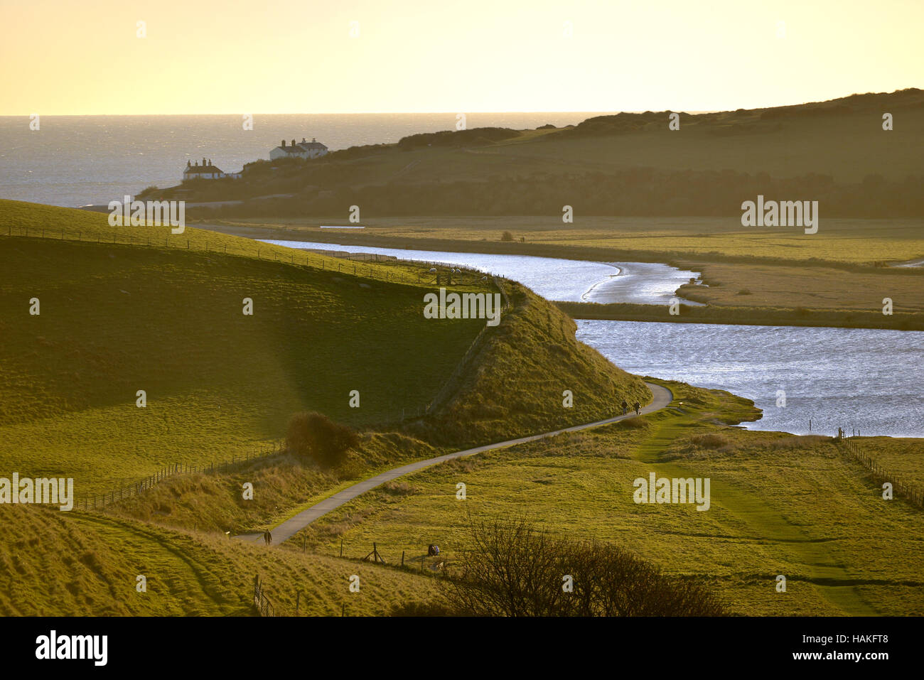 Cuckmere Haven river, cutting through the South Downs National Park, to meet the English Channel. - Stock Image