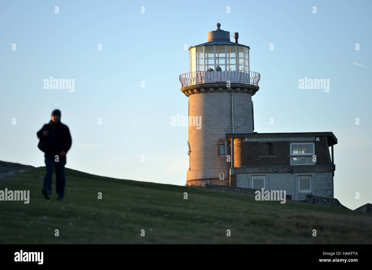 Belle Tout lighthouse, near to Beachy Head, on the chalk cliffs of the South Downs National Park. Stock Photo
