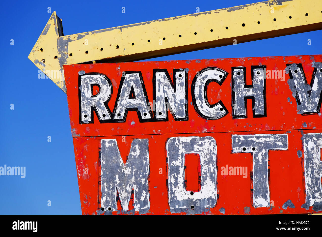 Detail of a motel sign from the mid-century in New Mexico. - Stock Image