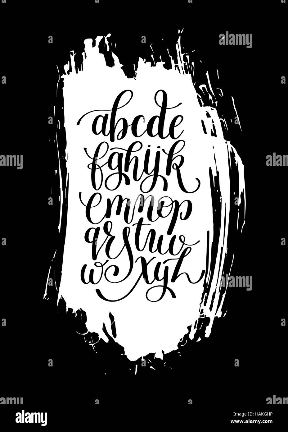 Black And White Hand Lettering Alphabet Design On Brush Stroke S