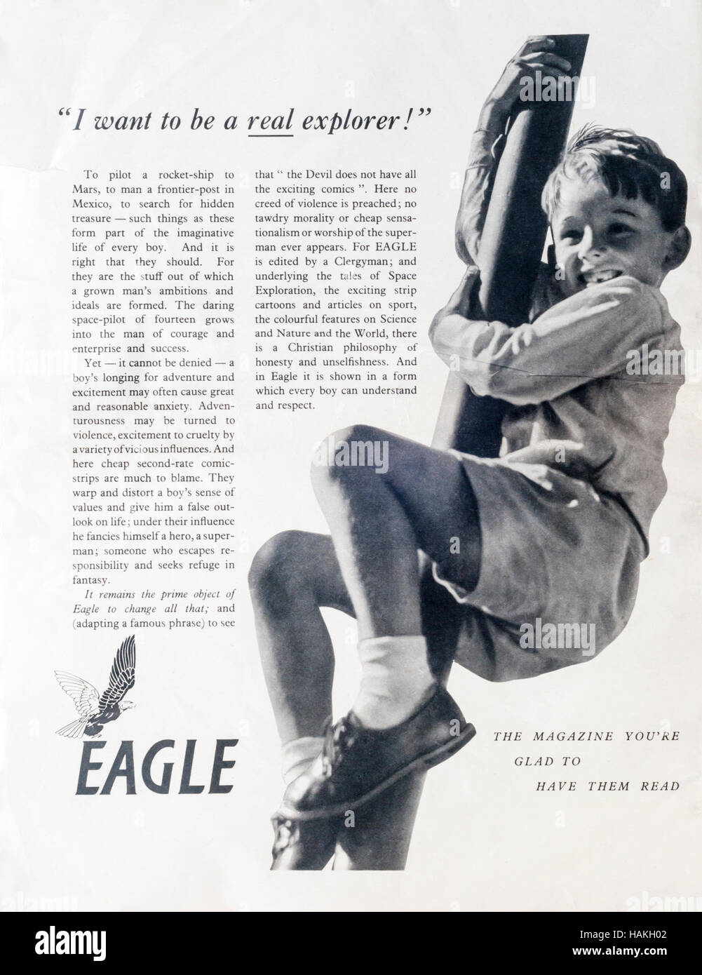 1950s magazine advertisement advertising the Eagle children's comic. - Stock Image