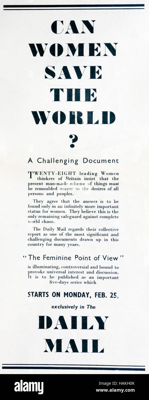 A 1950s magazine advertisement for the Daily Mail newspaper, asks Can Women Save The World? - Stock Image