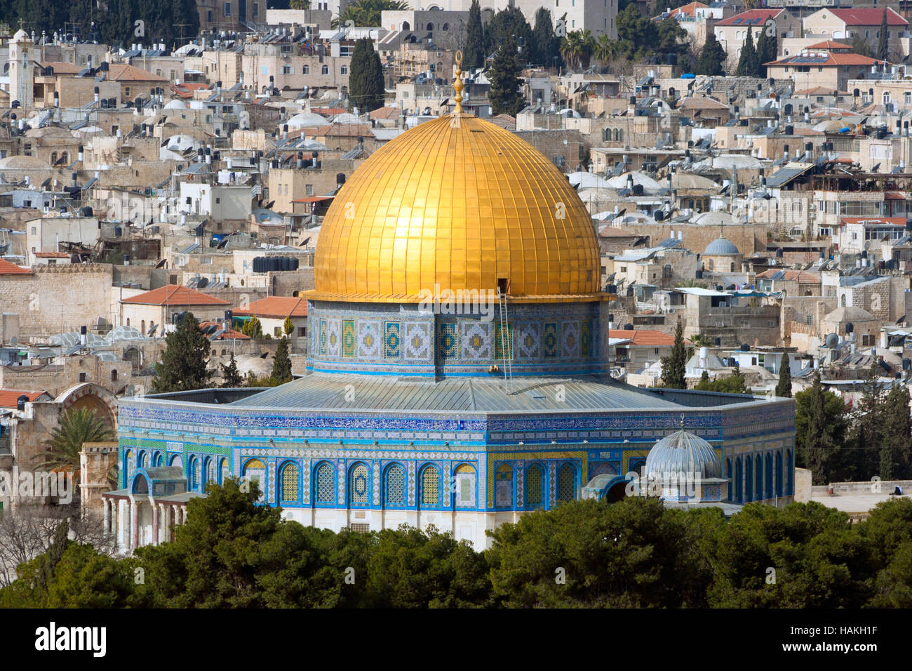 Dome of the Rock on the temple mount in Jerusalem - Israel Stock Photo