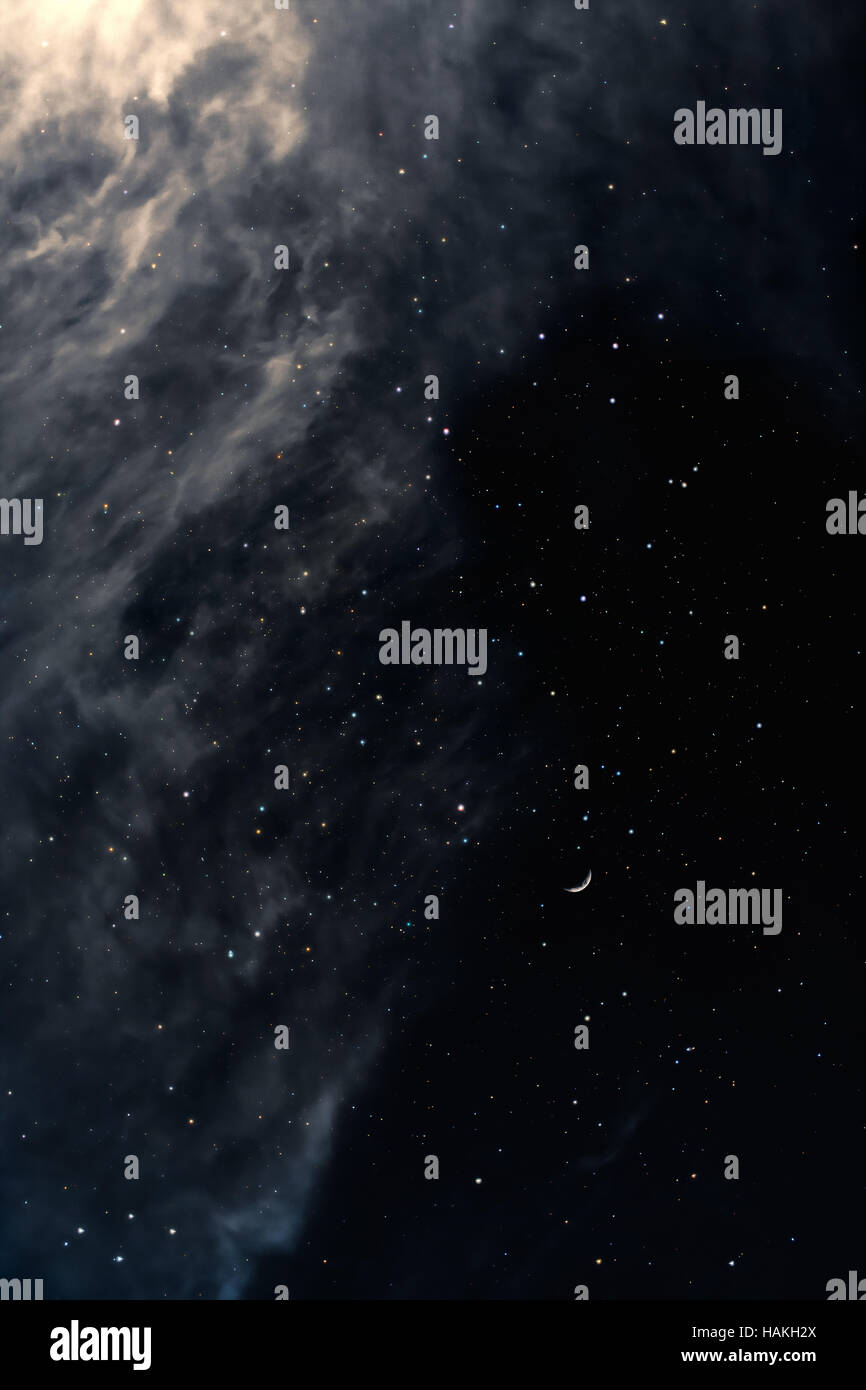 Melancholy night sky with stars and moon - Stock Image