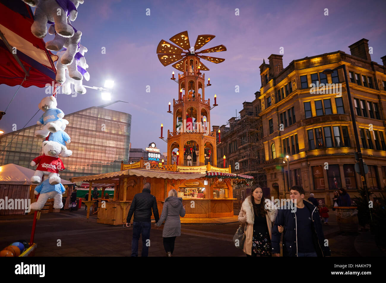 Manchester stalls christmas football museum    sunset german markets night dusk dawn Christmas winter festive festival - Stock Image