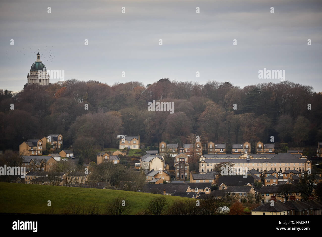 Lancashire Lancaster Williamson Park tower   Town centre valley housing stock new builds modern living l terraced - Stock Image