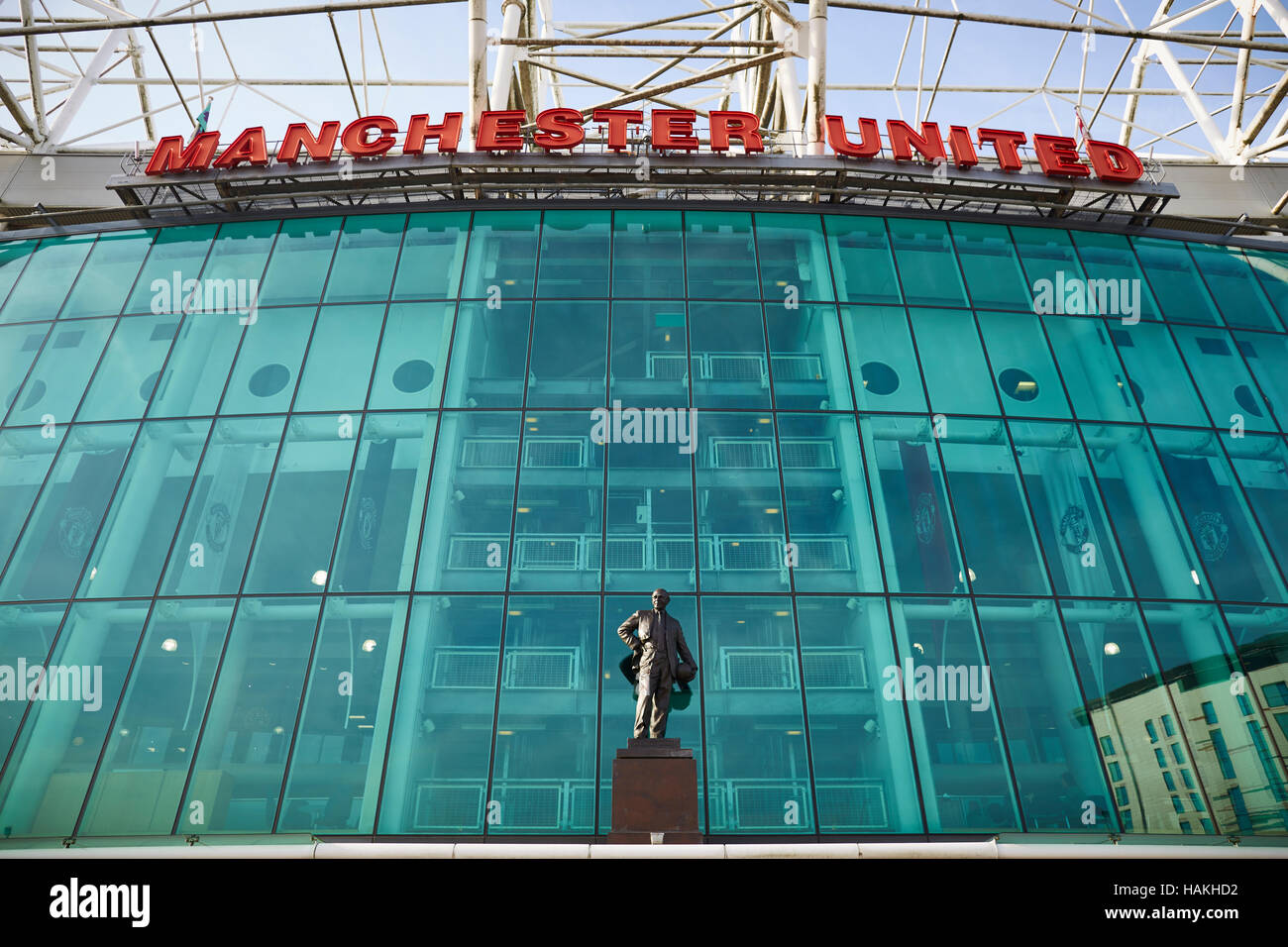 Manchester United stadium canal   MUFC stadium old Trafford  exterior entrance  copyspace exterior architecture - Stock Image