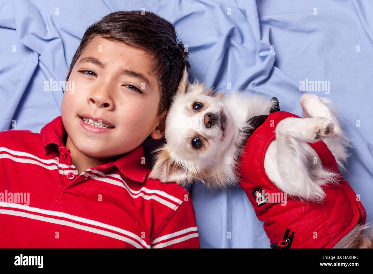 Young boy and his small dog. - Stock Image