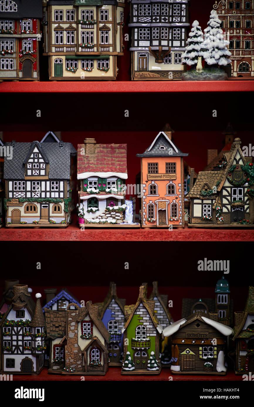 German houses kit models decoration   bavarian house Christmas xmas festive seasonal market stalls gift  Market - Stock Image