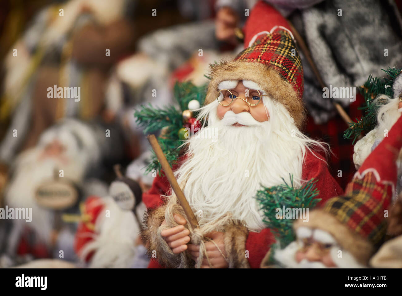 Sanat clause traditional doll decoration   figure toys Christmas xmas festive seasonal market stalls gift  Market - Stock Image