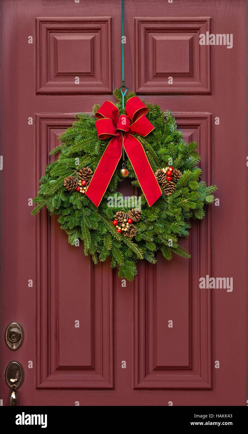 Red Door Christmas Wreath Stock Photos Red Door Christmas Wreath
