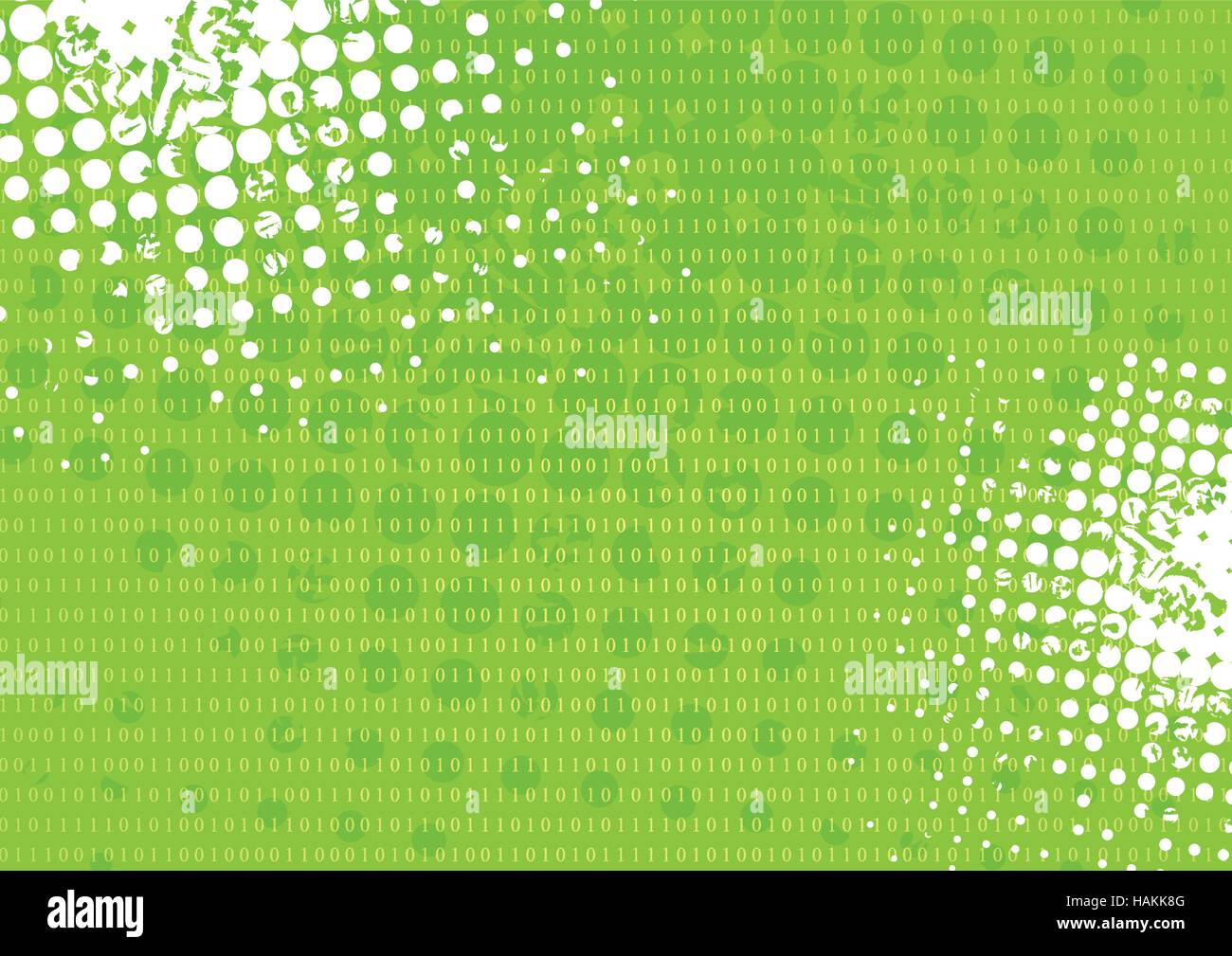 Tech grunge green binary system background. Vector technology design - Stock Vector