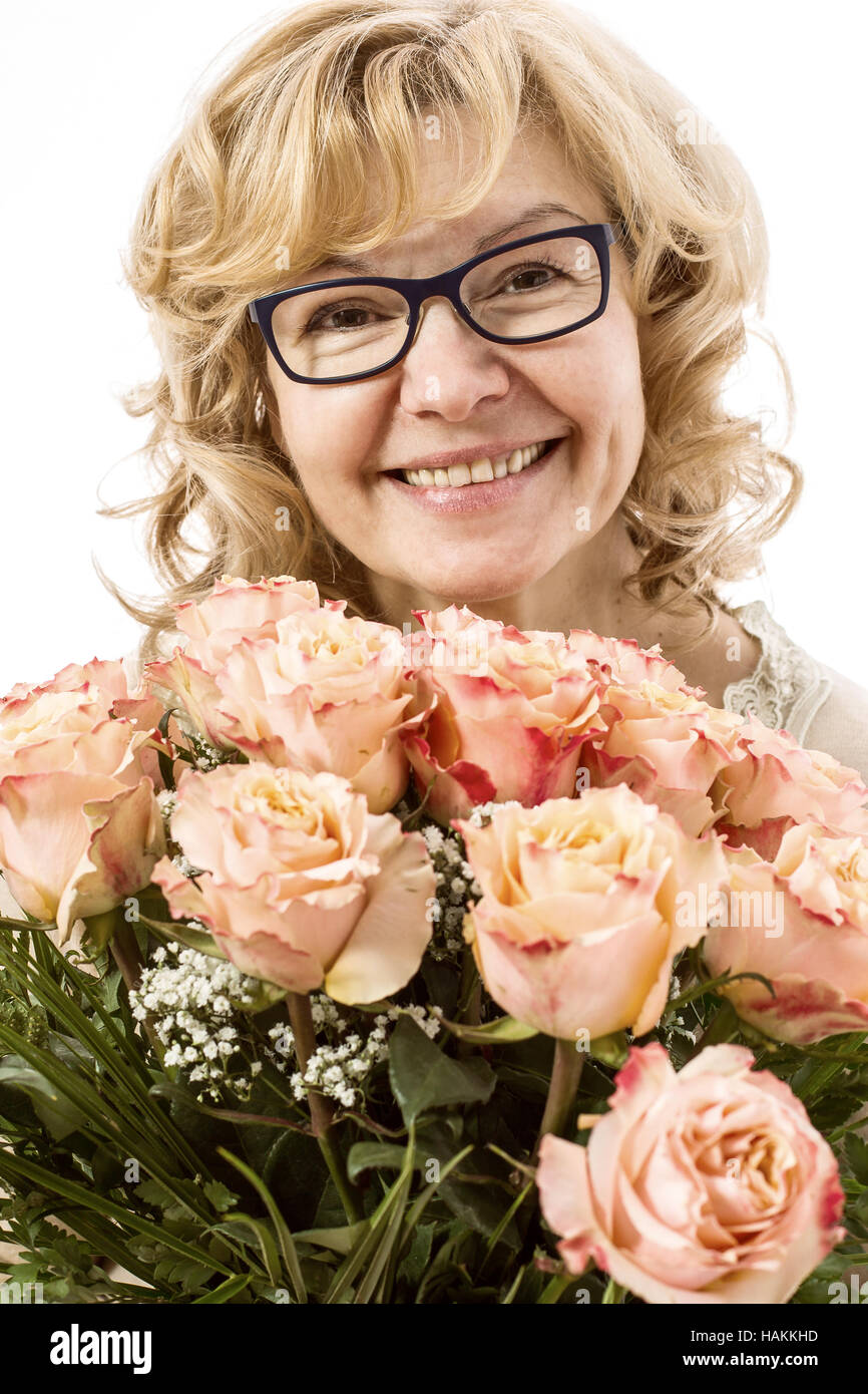 Beautiful blond with roses picture 475