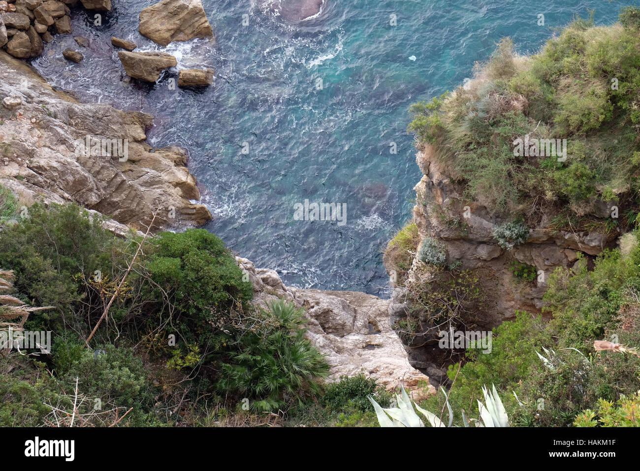 Pictorial blue Adriatic sea in Dubrovnik, Croatia on December 01, 2015. - Stock Image
