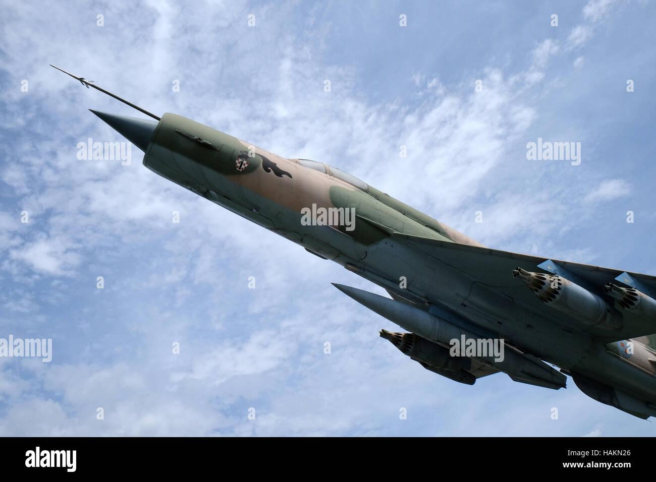 Museum of the Croatian War of Independence, 1991 - 1995, fighter Combat aircraft MIG 21, Turanj, Croatia Stock Photo
