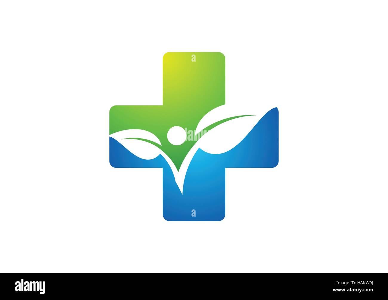 medicine health icon logo, cross plant logo icon, plus nature symbol icon, people health concept vector design - Stock Vector
