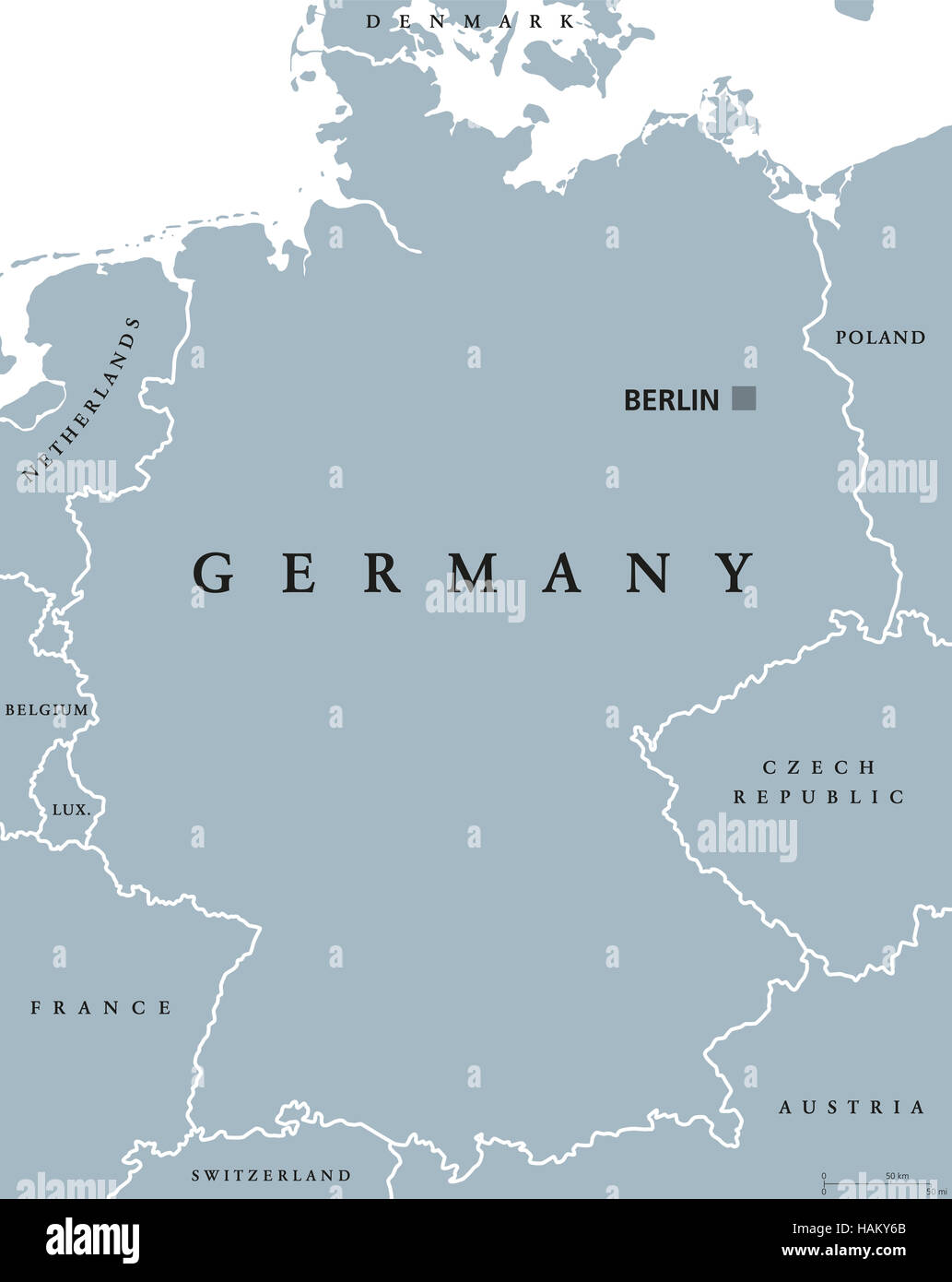 germany political map with capital berlin national borders and neighbor countries gray illustration with english labeling