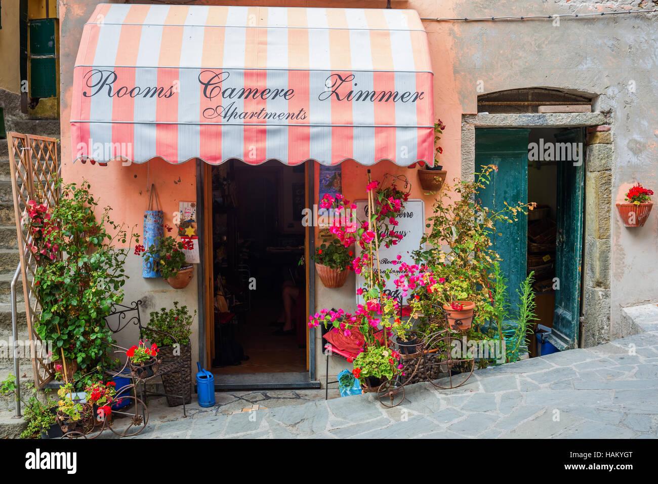 room letting in Riomaggiore, Cinque Terre, Italy - Stock Image