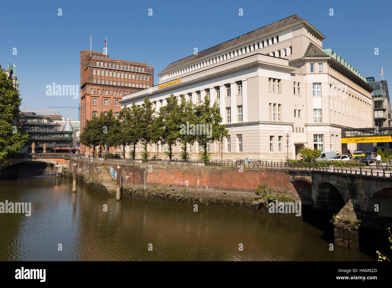 Hamburg Germany, Duitslan, bei der Allen Borse, Duitsland, Comerzbank - Stock Image