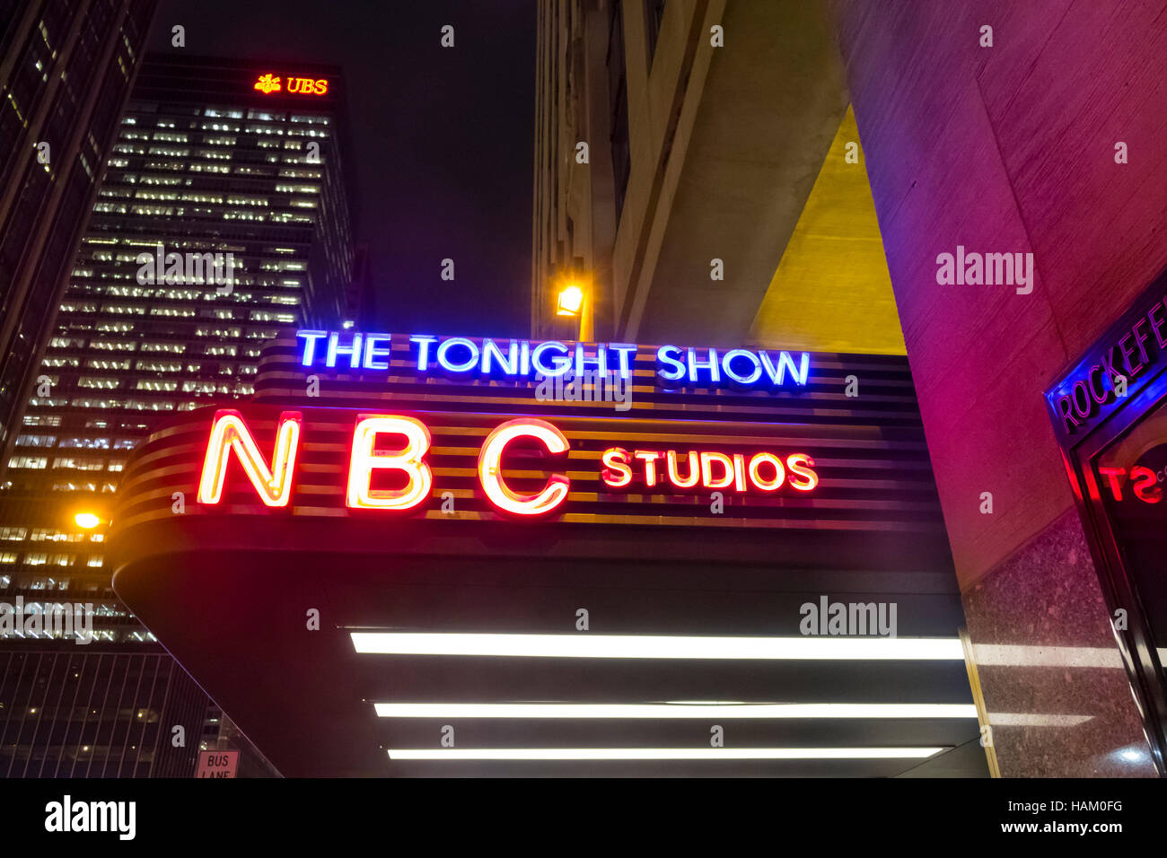 NBC Studios marquee for The Tonight Show in New York City - Stock Image