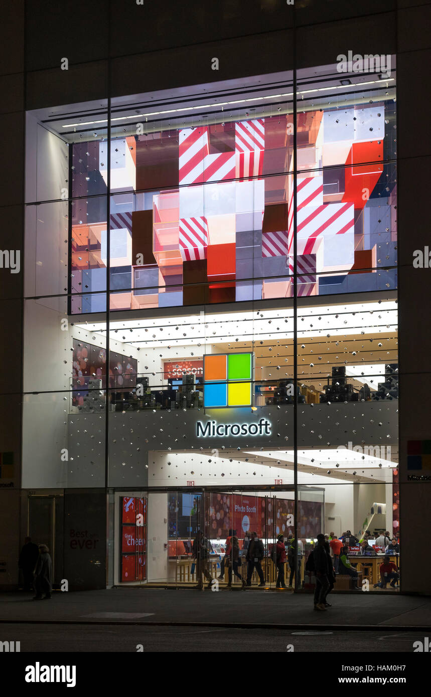 Microsoft store on Fifth Avenue in New York City Stock Photo