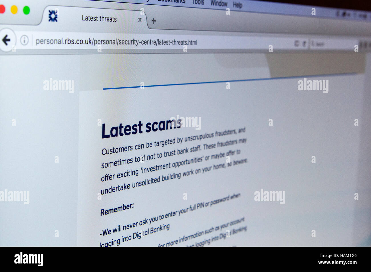 RBS Royal Bank of Scotland Online cyber security Stock Photo ...