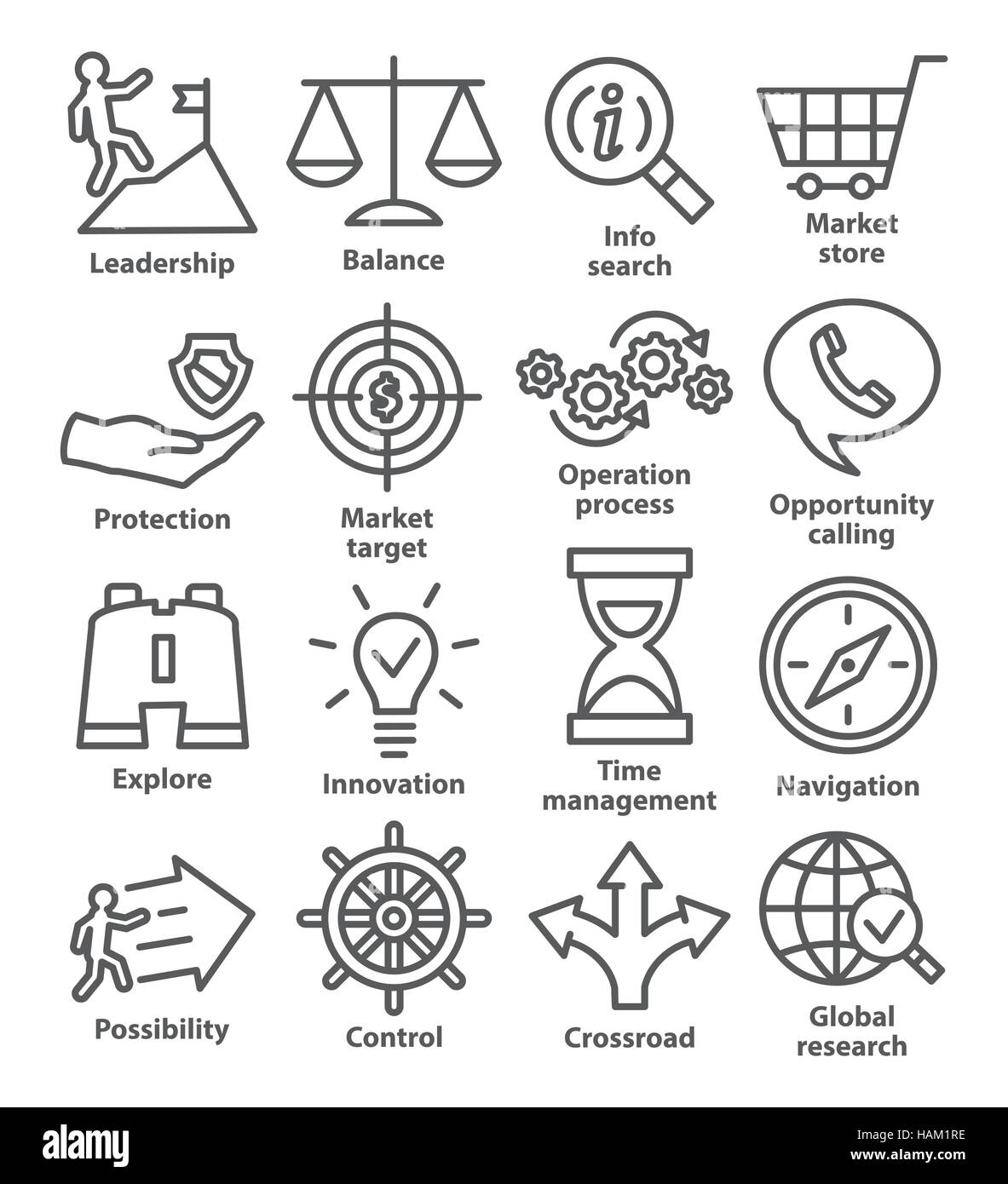 Business management icons in line style on white. Pack 13. - Stock Image