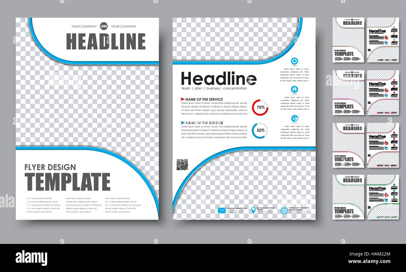 Design color flyers A4  Template 2 page brochure with space