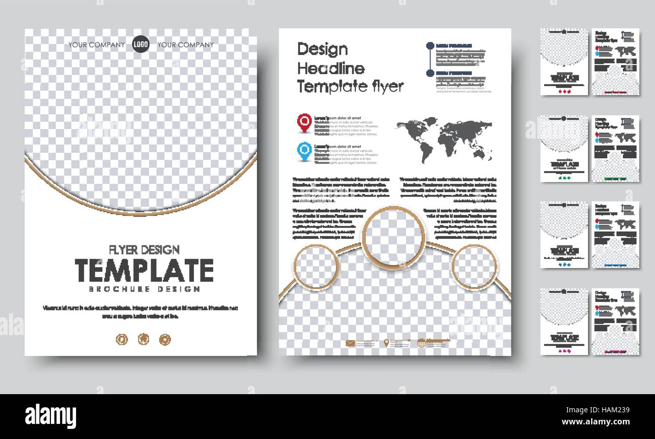 design 2 pages booklet with circles for a photo world map and markers vector illustration set