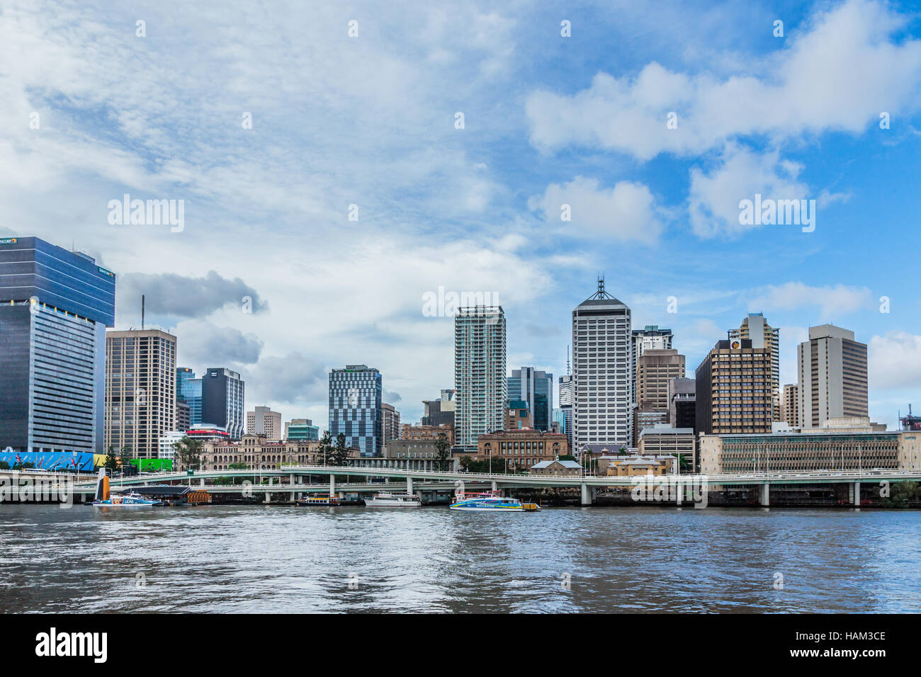 Brisbane  Cityscape, taken from the South Bank - Stock Image