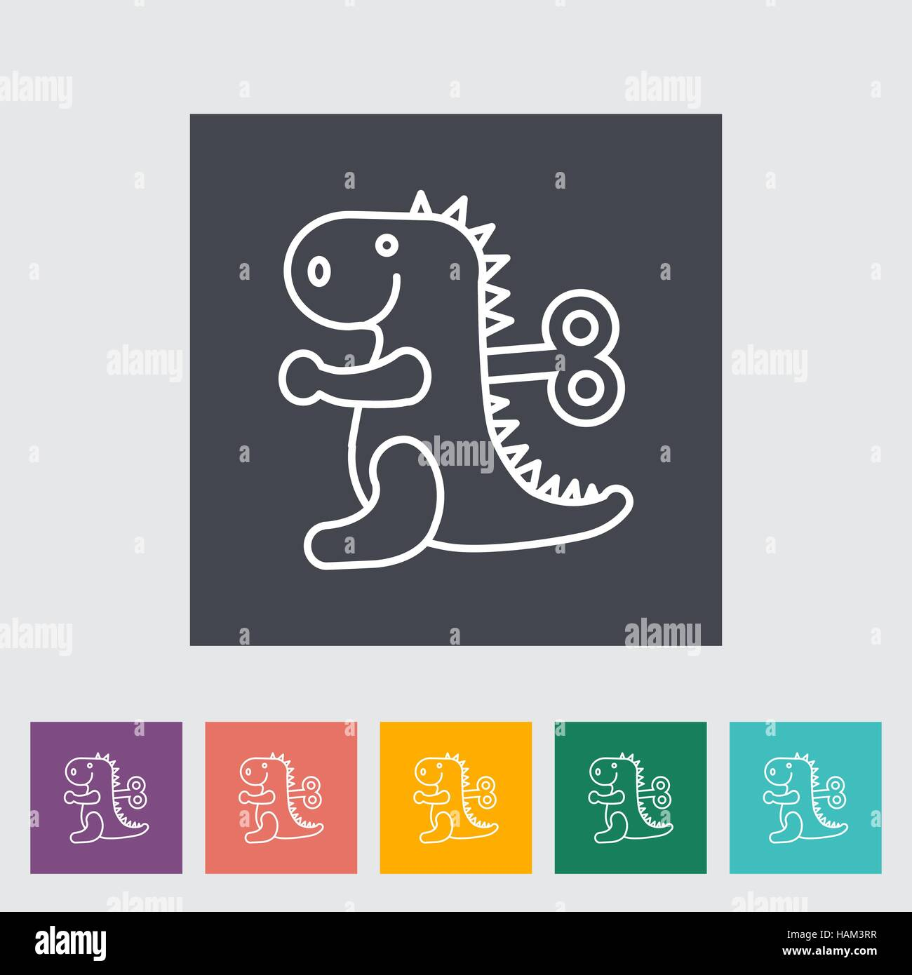 Dinosaurus toy thin line flat vector related icon set for web and mobile applications. It can be used as - pictogram, Stock Vector