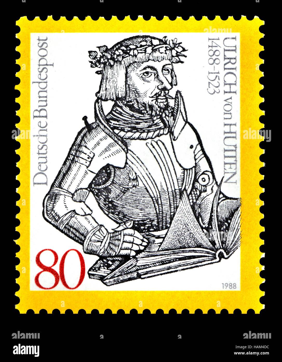 German postage stamp (1988) : Ulrich von Hutten (1488 – 1523) German scholar, poet, satirist, reformer. and outspoken - Stock Image