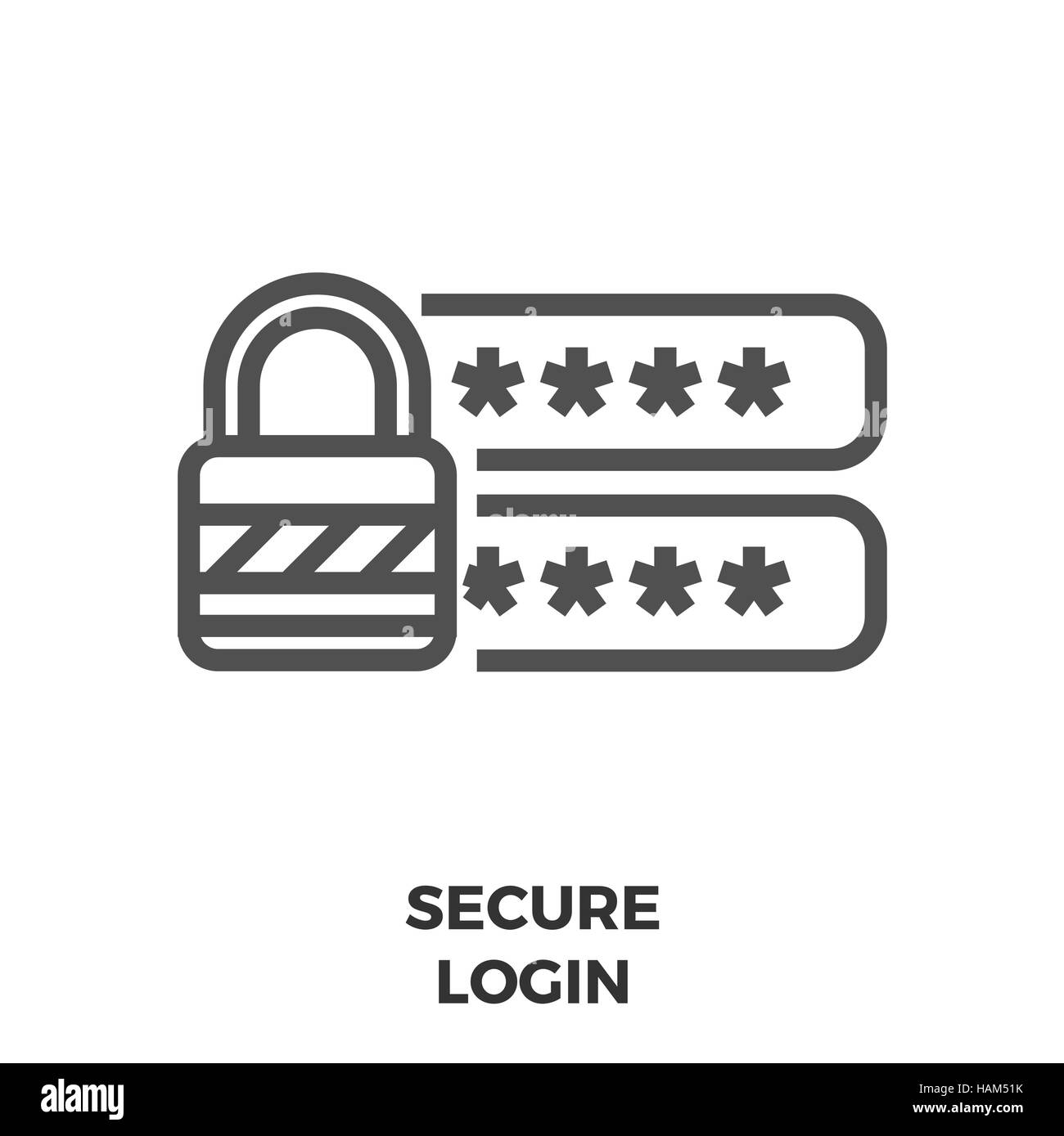 Secure Login Thin Line Vector Icon Isolated on the White Background. - Stock Image