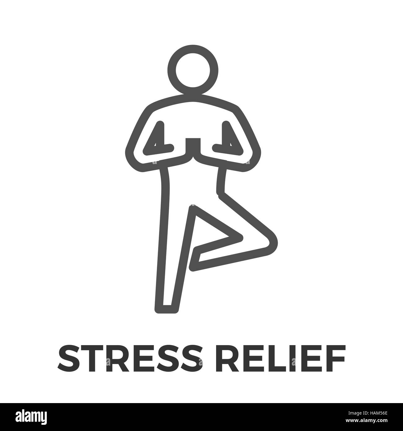 Stress Relief Thin Line Vector Icon Isolated on the White Background. - Stock Image