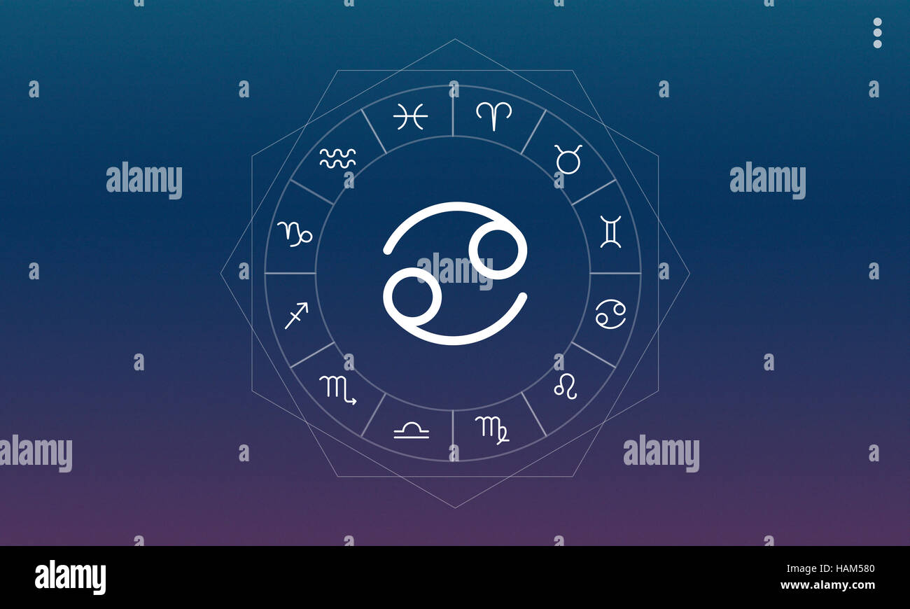 Cancer Horoscope Zodiac Prediction Graphic Concept Stock