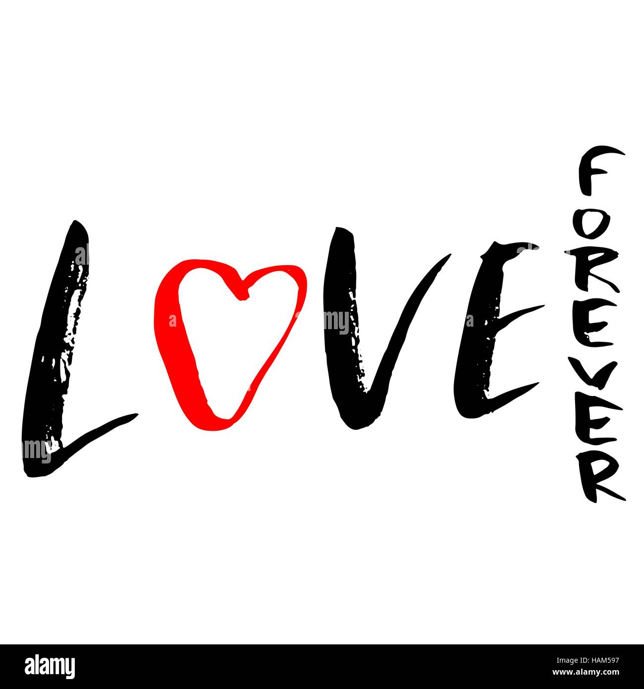 Hand Drawn Phrase Forever Love Lettering Design For Posters Stock