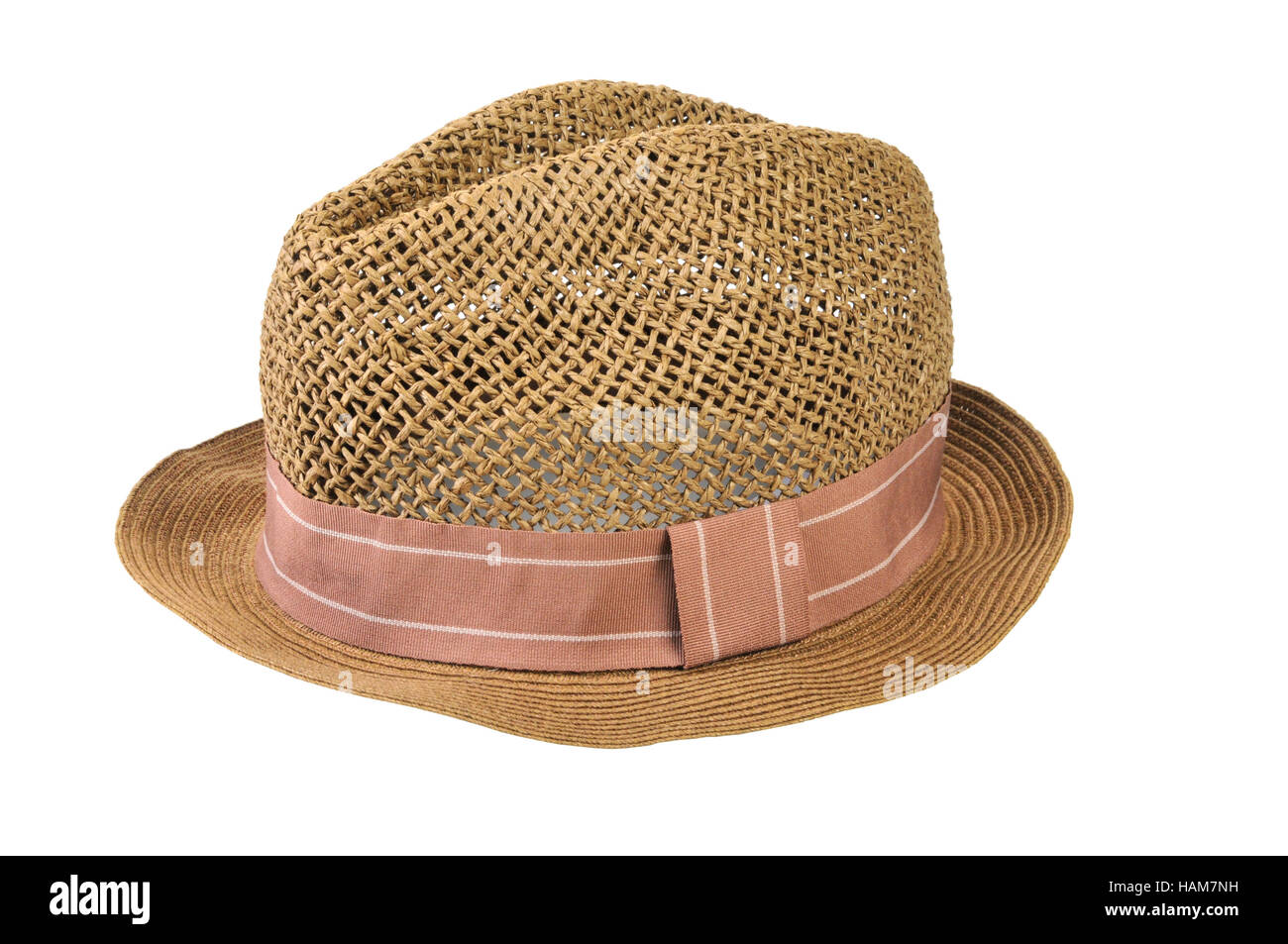 Mens straw hat isolated on white Stock Photo