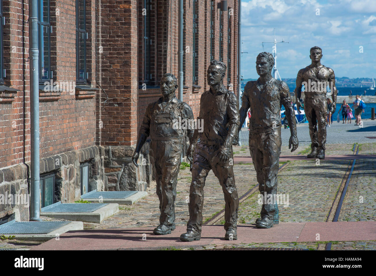 Sculptures of shipyard workers by artist Hans Pauli Olsen, at the dockyard museum in Elsinore, Hovedstaden Region, - Stock Image