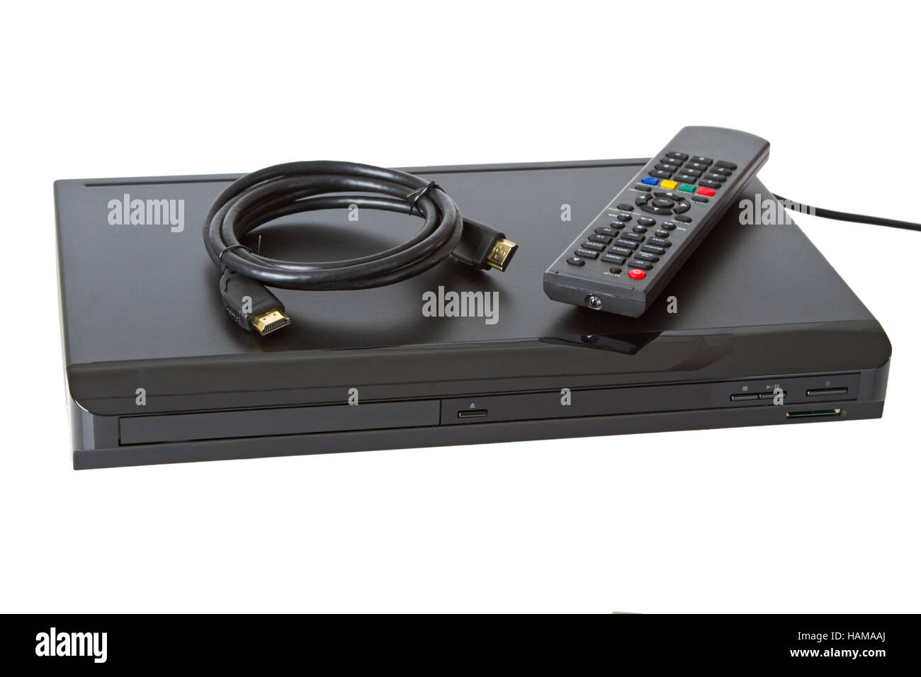 Multi Media blue ray player  on white background - Stock Image