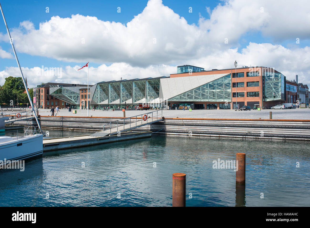 The Culture Yard, a modern cultural center with library, designed by AART architects in Elsinore, Hovedstaden Region, - Stock Image