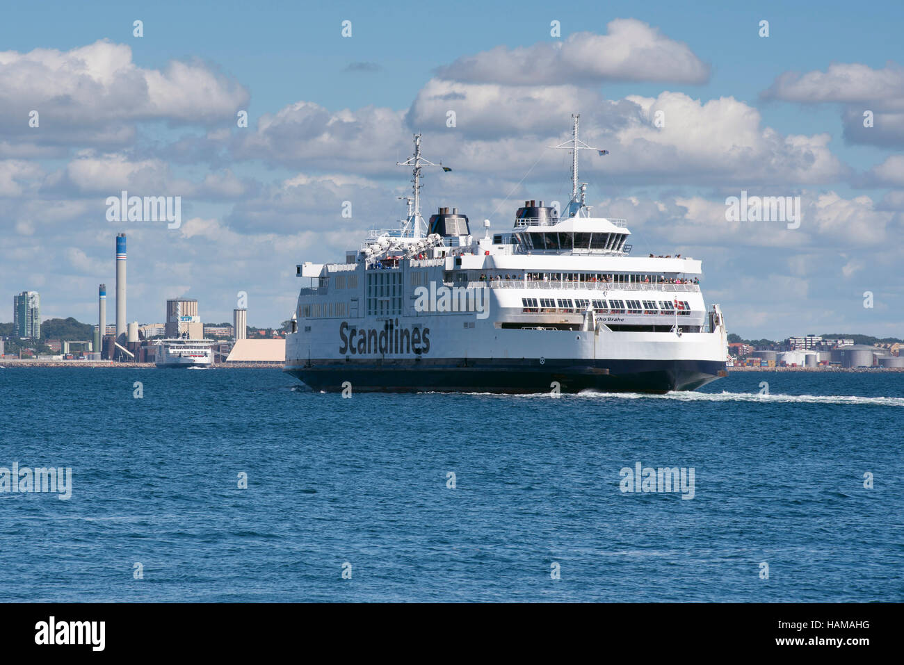 Tycho Brahe ferry of shipping company Scandlines, on the Elsinore-Helsingborg route between Denmark and Sweden via - Stock Image
