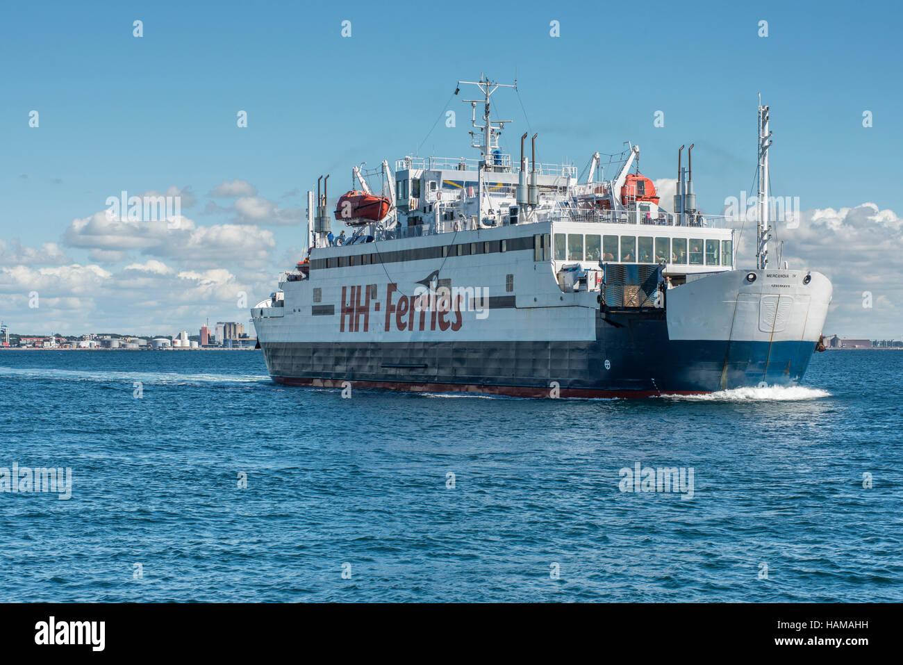 Mercandia IV ferry of shipping company HH Ferries, on the Elsinore-Helsingborg route between Denmark and Sweden - Stock Image