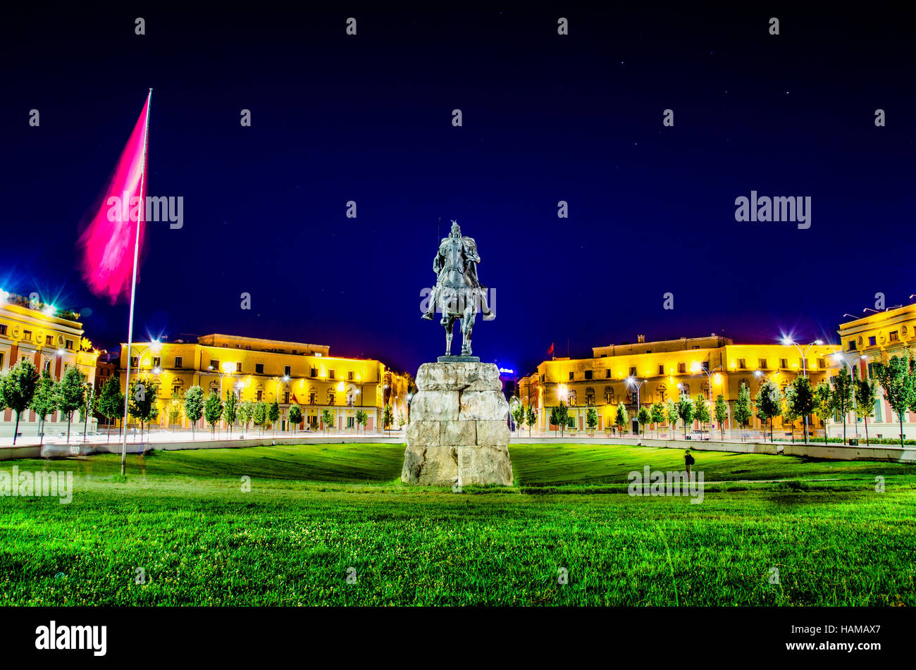 Skanderbeg Square with his statue in Tirana - Albania - Stock Image