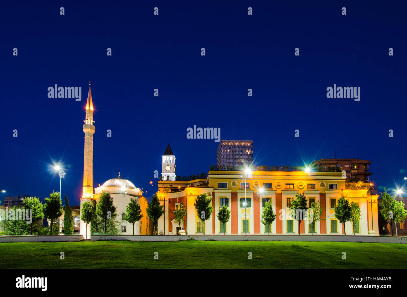 The Et'hem Bey Mosque in Skanderbeg Square, at night, Tirana - Albania - Stock Image