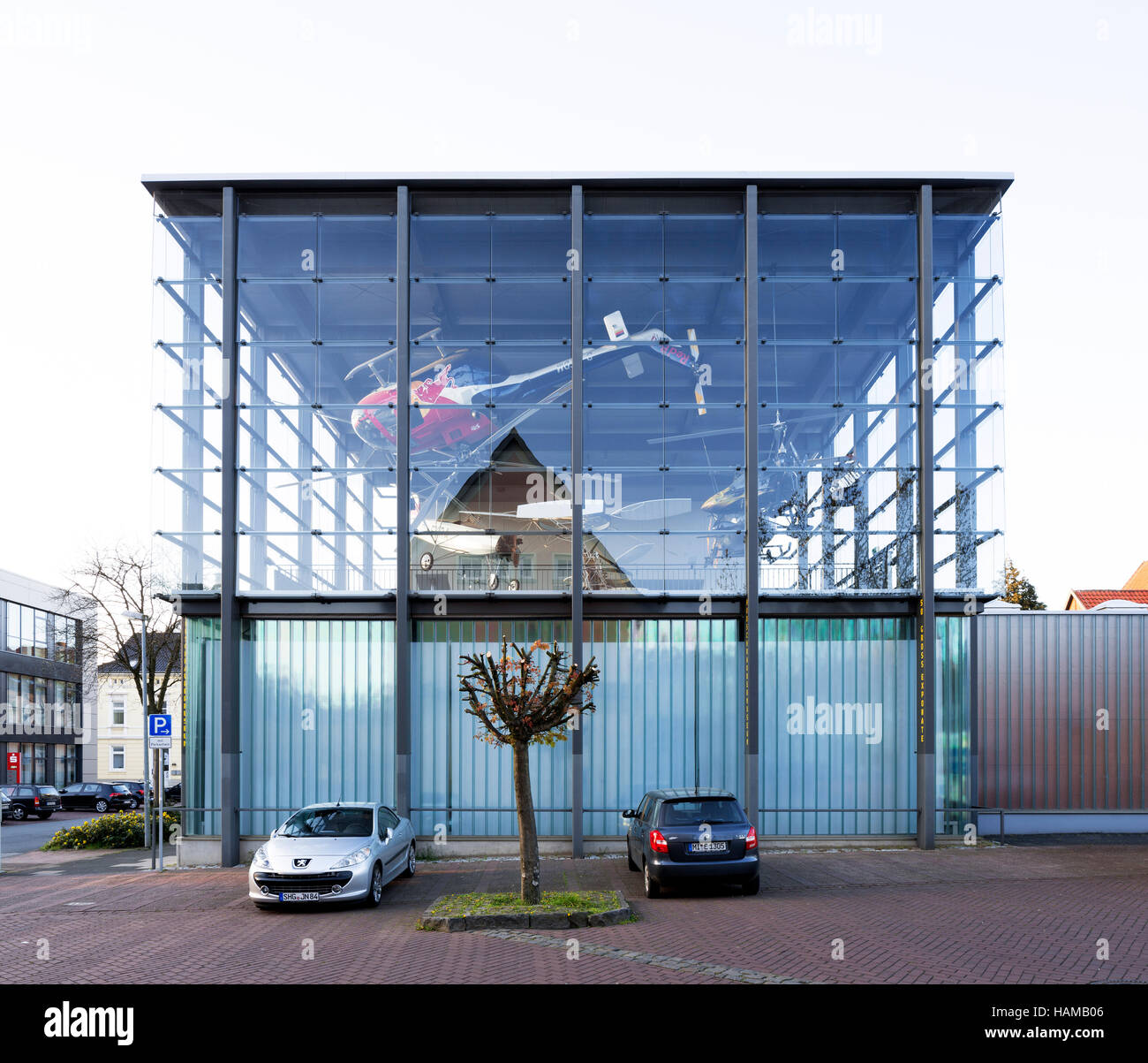 Helicopter museum, glass cube built in 2011, Bückeburg, Schaumburg, Lower Saxony, Germany - Stock Image
