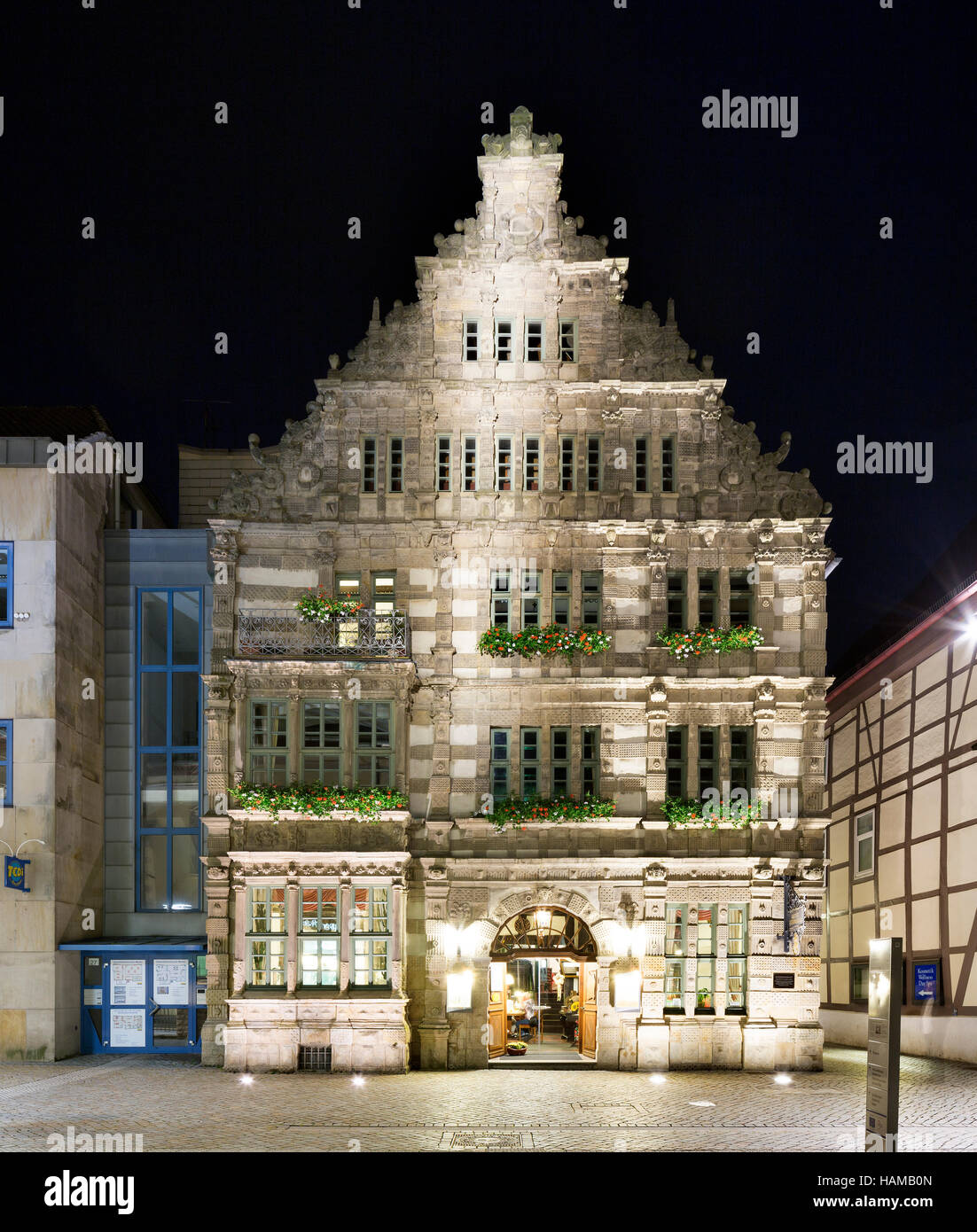 Pied Piper's House, built in 1603, Weser Renaissance, Hamelin, Lower Saxony, Germany - Stock Image