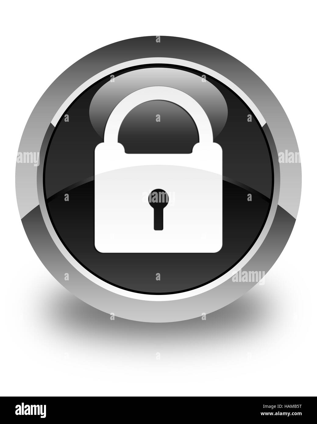 Padlock icon isolated on glossy black round button abstract illustration - Stock Image