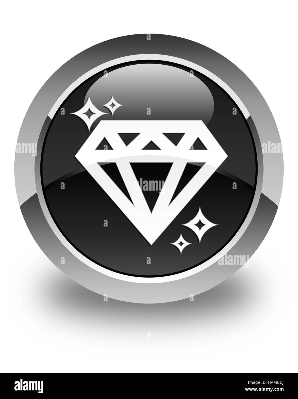 Diamond icon isolated on glossy black round button abstract illustration - Stock Image